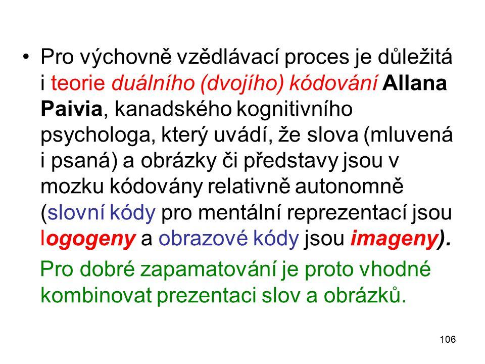 106 Pro výchovně vzědlávací proces je důležitá i teorie duálního (dvojího) kódování Allana Paivia, kanadského kognitivního psychologa, který uvádí, že slova (mluvená i psaná) a obrázky či představy jsou v mozku kódovány relativně autonomně (slovní kódy pro mentální reprezentací jsou logogeny a obrazové kódy jsou imageny).