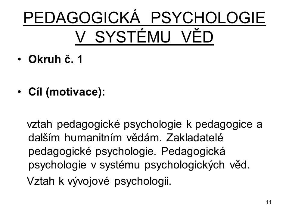 11 PEDAGOGICKÁ PSYCHOLOGIE V SYSTÉMU VĚD Okruh č.