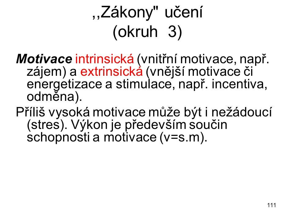 111,,Zákony učení (okruh 3) Motivace intrinsická (vnitřní motivace, např.