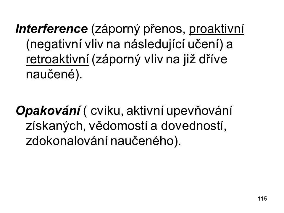 115 Interference (záporný přenos, proaktivní (negativní vliv na následující učení) a retroaktivní (záporný vliv na již dříve naučené).