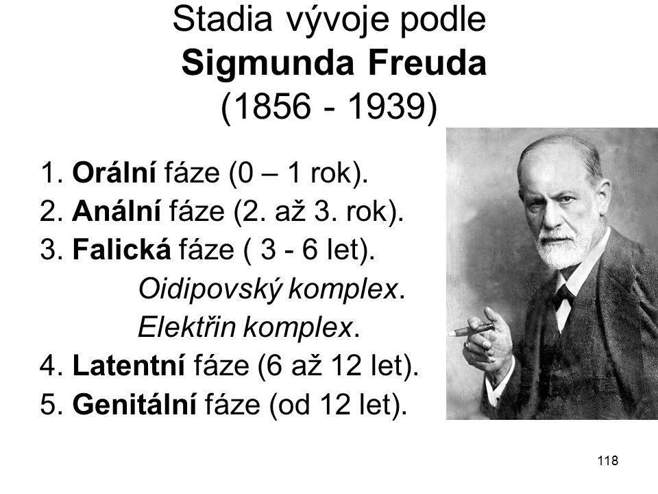 118 Stadia vývoje podle Sigmunda Freuda (1856 - 1939) 1.