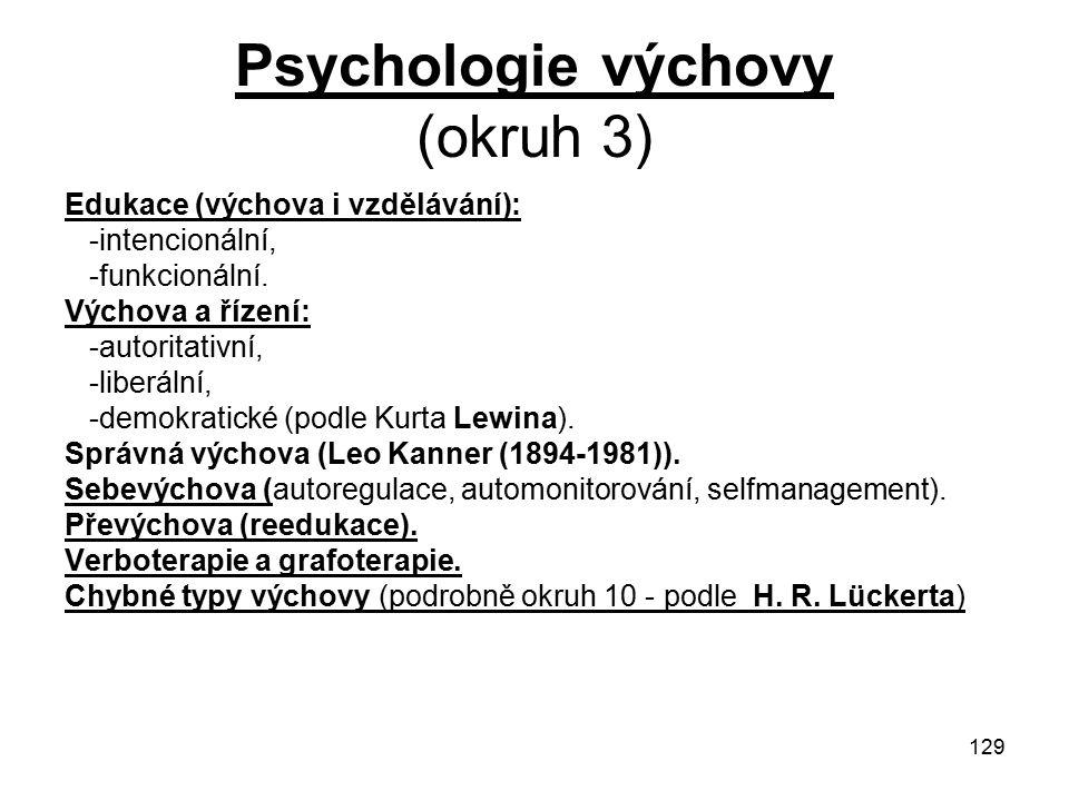 129 Psychologie výchovy (okruh 3) Edukace (výchova i vzdělávání): -intencionální, -funkcionální.