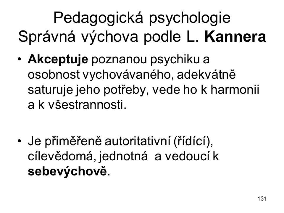 131 Pedagogická psychologie Správná výchova podle L.