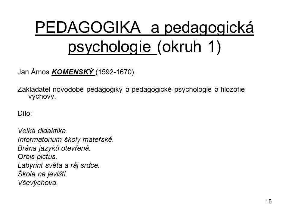 15 PEDAGOGIKA a pedagogická psychologie (okruh 1) Jan Ámos KOMENSKÝ (1592-1670).