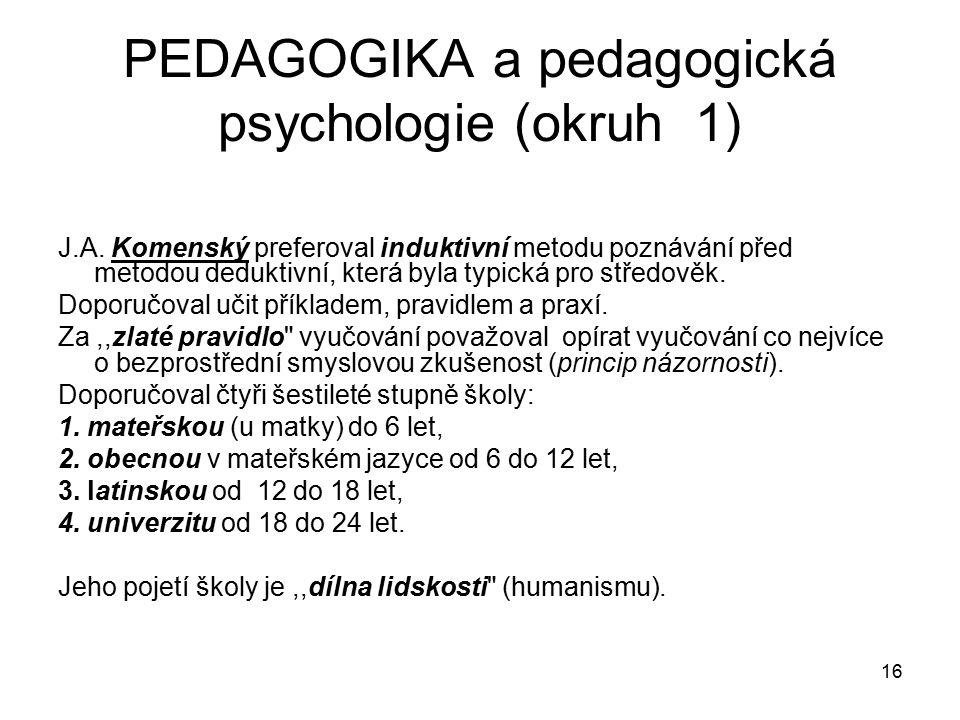 16 PEDAGOGIKA a pedagogická psychologie (okruh 1) J.A.