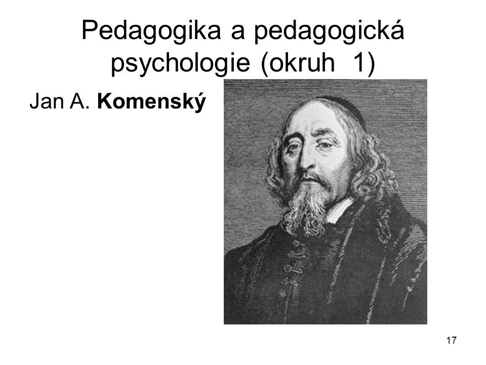 17 Pedagogika a pedagogická psychologie (okruh 1) Jan A. Komenský