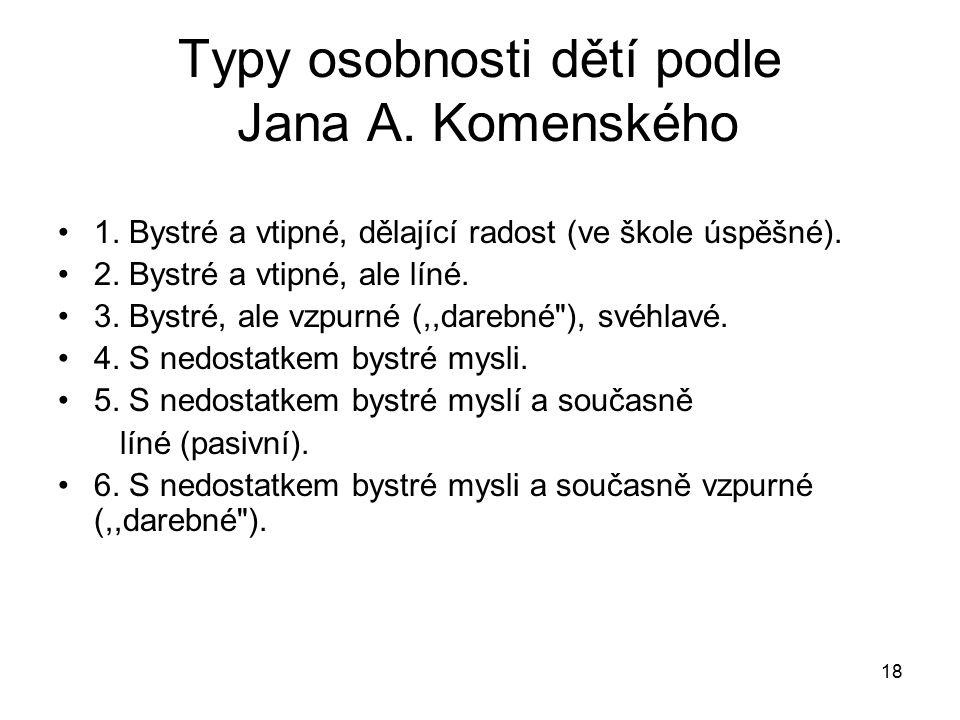 18 Typy osobnosti dětí podle Jana A.Komenského 1.