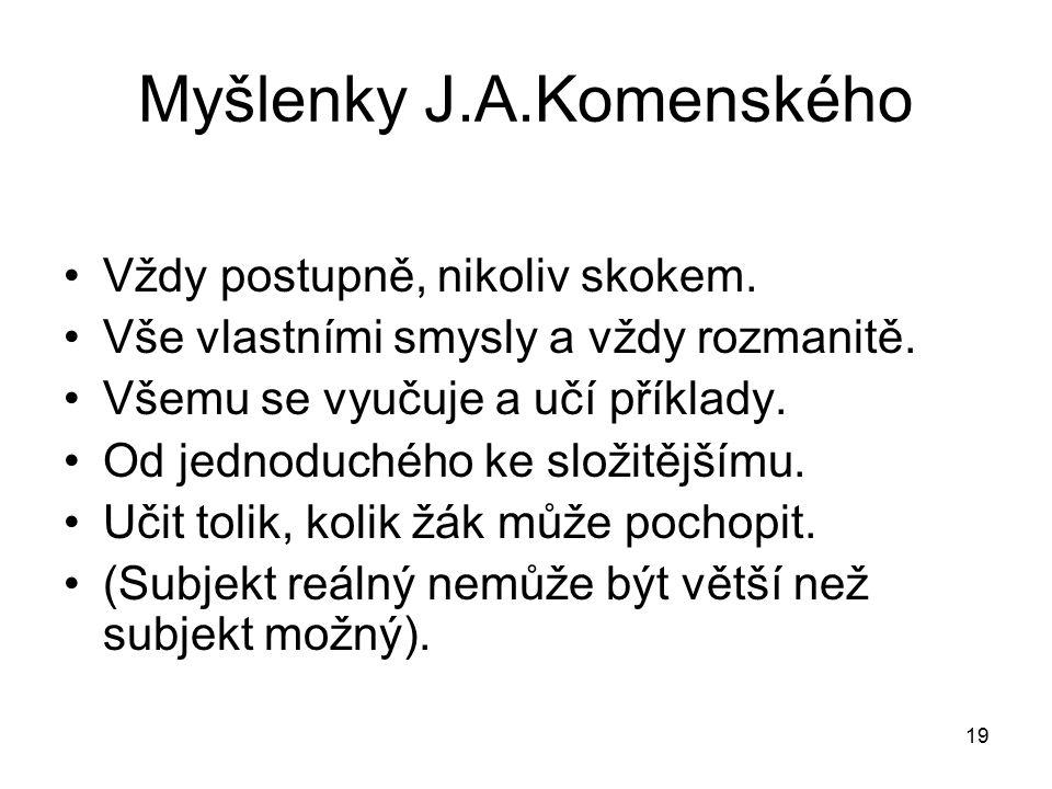19 Myšlenky J.A.Komenského Vždy postupně, nikoliv skokem.