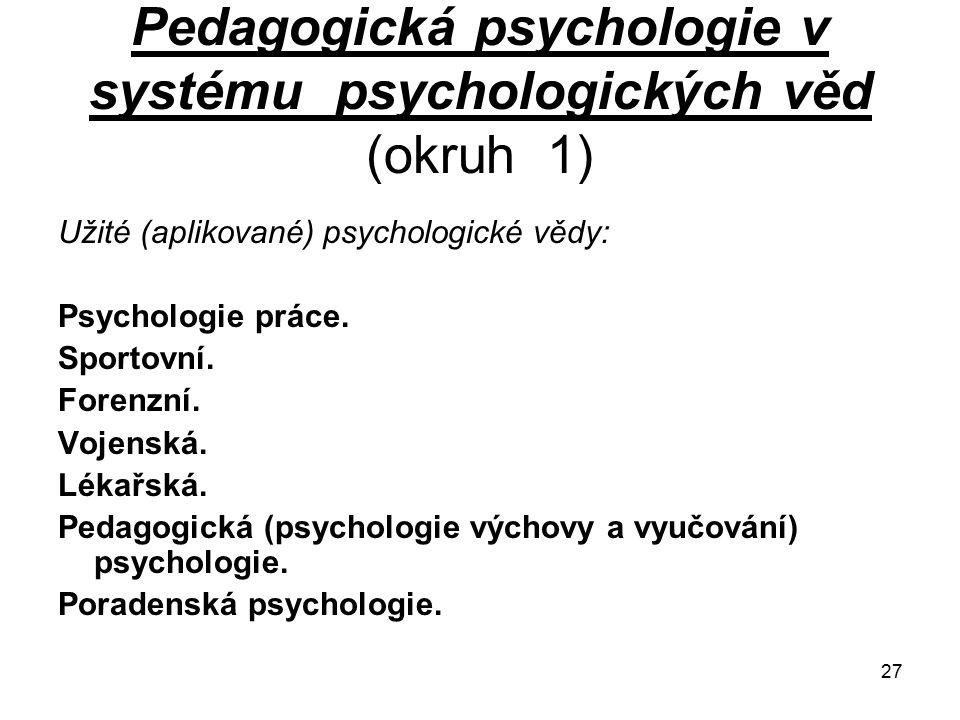 27 Pedagogická psychologie v systému psychologických věd (okruh 1) Užité (aplikované) psychologické vědy: Psychologie práce.