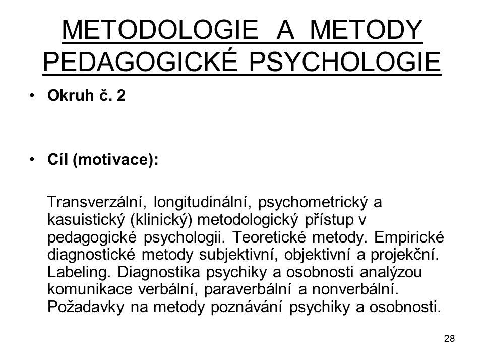 28 METODOLOGIE A METODY PEDAGOGICKÉ PSYCHOLOGIE Okruh č.