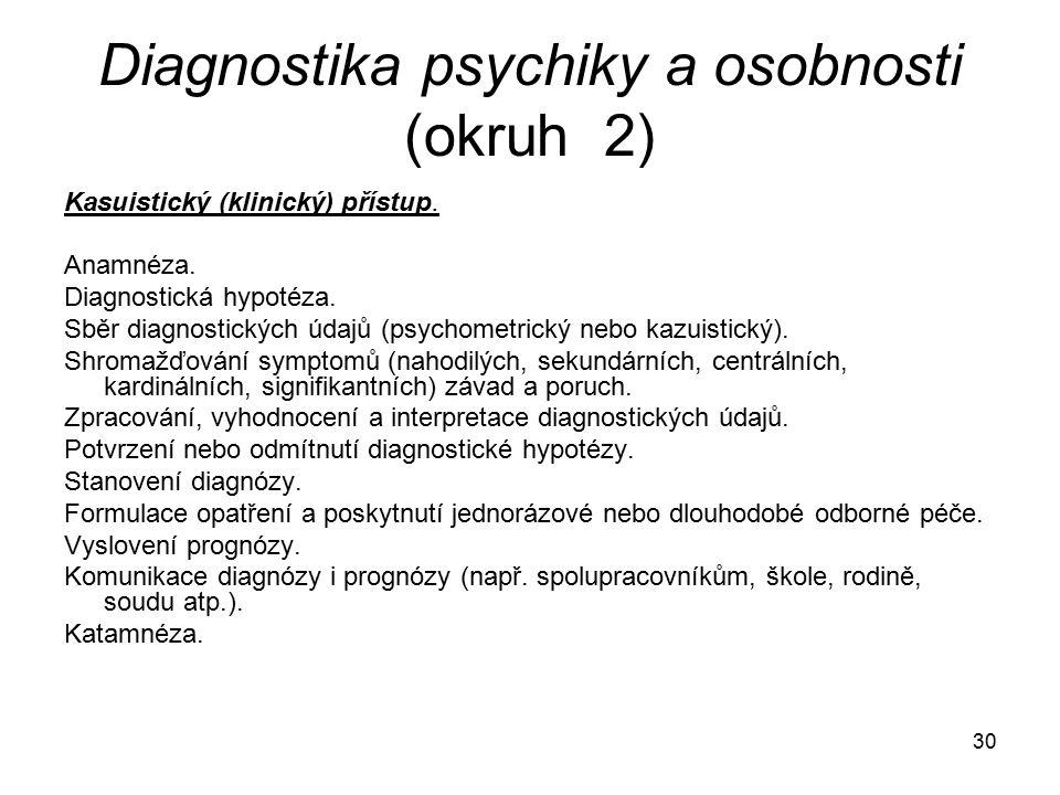 30 Diagnostika psychiky a osobnosti (okruh 2) Kasuistický (klinický) přístup.