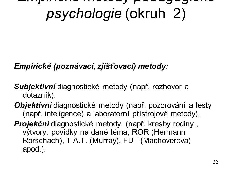 32 Empirické metody pedagogické psychologie (okruh 2) Empirické (poznávací, zjišťovací) metody: Subjektivní diagnostické metody (např.