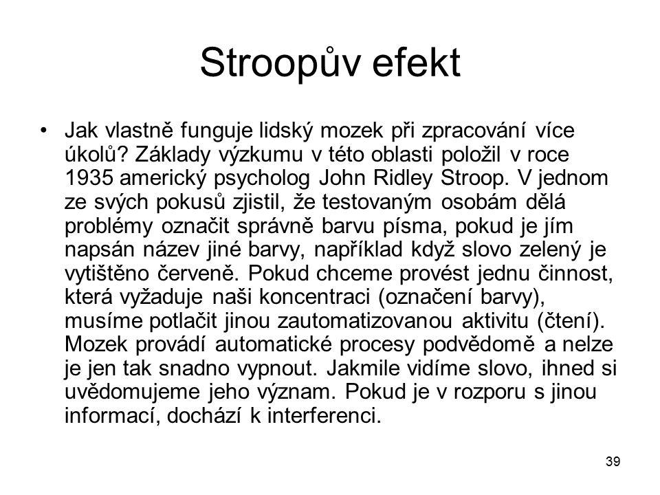 39 Stroopův efekt Jak vlastně funguje lidský mozek při zpracování více úkolů.