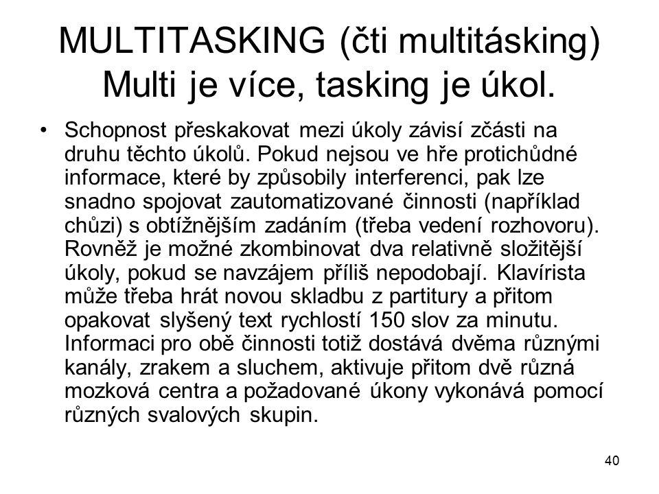 40 MULTITASKING (čti multitásking) Multi je více, tasking je úkol.
