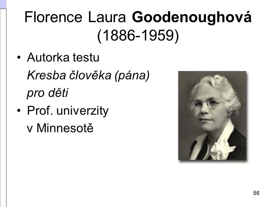 56 Florence Laura Goodenoughová (1886-1959) Autorka testu Kresba člověka (pána) pro děti Prof.