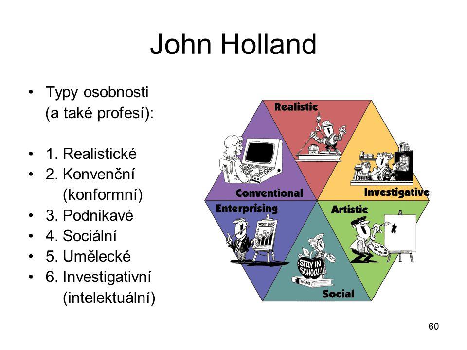 60 John Holland Typy osobnosti (a také profesí): 1.