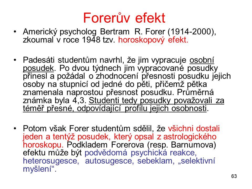 63 Forerův efekt Americký psycholog Bertram R.Forer (1914-2000), zkoumal v roce 1948 tzv.