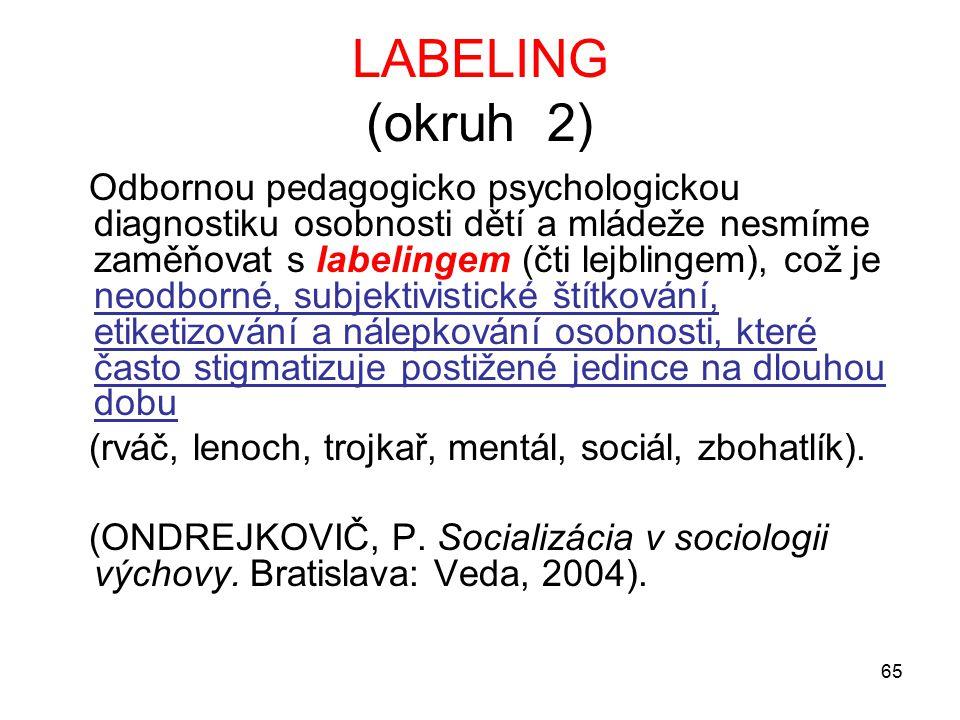 65 LABELING (okruh 2) Odbornou pedagogicko psychologickou diagnostiku osobnosti dětí a mládeže nesmíme zaměňovat s labelingem (čti lejblingem), což je neodborné, subjektivistické štítkování, etiketizování a nálepkování osobnosti, které často stigmatizuje postižené jedince na dlouhou dobu (rváč, lenoch, trojkař, mentál, sociál, zbohatlík).