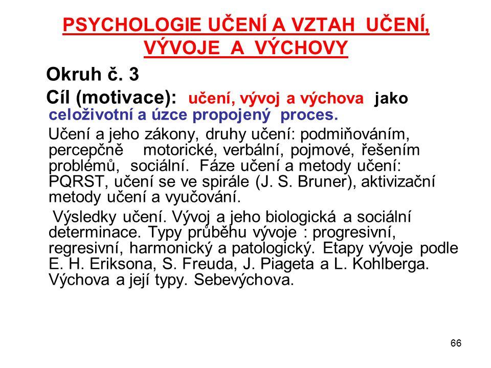 66 PSYCHOLOGIE UČENÍ A VZTAH UČENÍ, VÝVOJE A VÝCHOVY Okruh č.