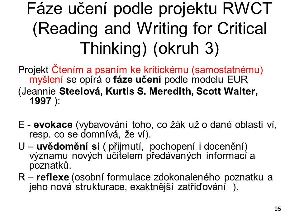 95 Fáze učení podle projektu RWCT (Reading and Writing for Critical Thinking) (okruh 3) Projekt Čtením a psaním ke kritickému (samostatnému) myšlení se opírá o fáze učení podle modelu EUR (Jeannie Steelová, Kurtis S.