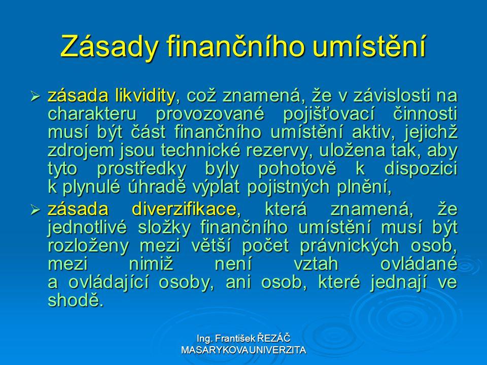 Ing. František ŘEZÁČ MASARYKOVA UNIVERZITA Zásady finančního umístění  zásada likvidity, což znamená, že v závislosti na charakteru provozované pojiš
