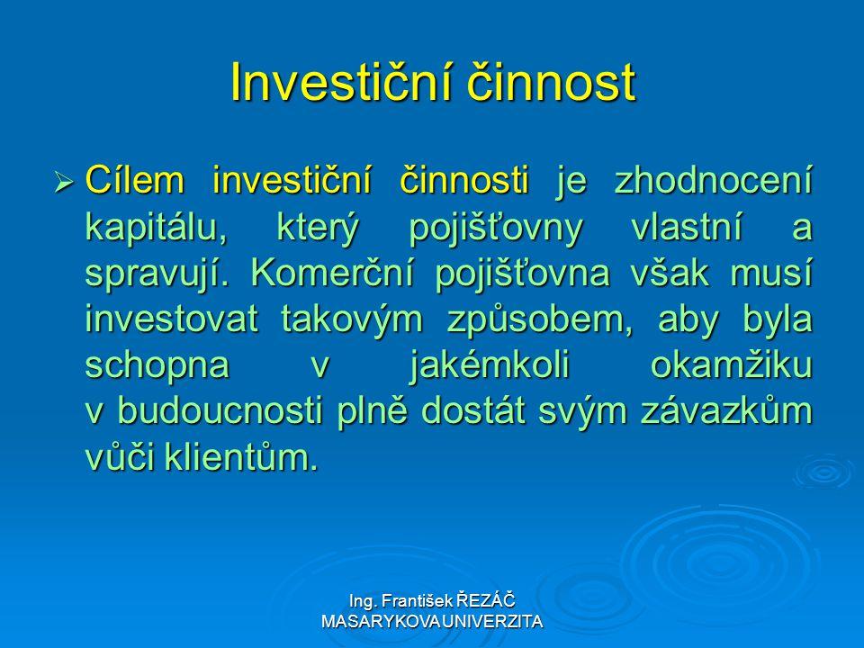 Ing. František ŘEZÁČ MASARYKOVA UNIVERZITA Investiční činnost  Cílem investiční činnosti je zhodnocení kapitálu, který pojišťovny vlastní a spravují.