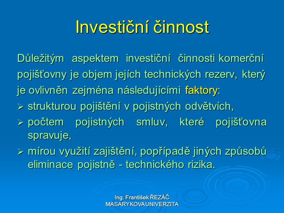 Ing. František ŘEZÁČ MASARYKOVA UNIVERZITA Investiční činnost Důležitým aspektem investiční činnosti komerční pojišťovny je objem jejích technických r
