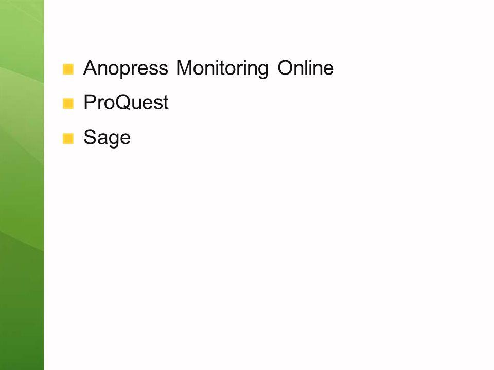 Anopress Monitoring Online ProQuest Sage
