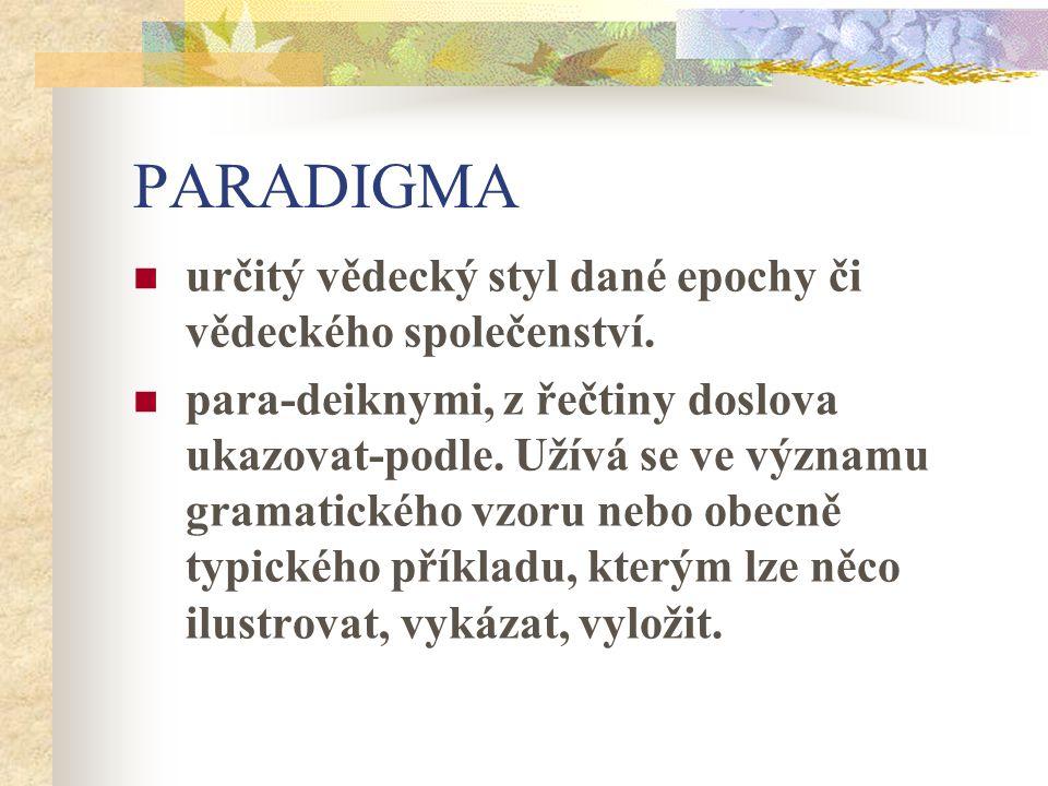 PARADIGMA určitý vědecký styl dané epochy či vědeckého společenství. para-deiknymi, z řečtiny doslova ukazovat-podle. Užívá se ve významu gramatického