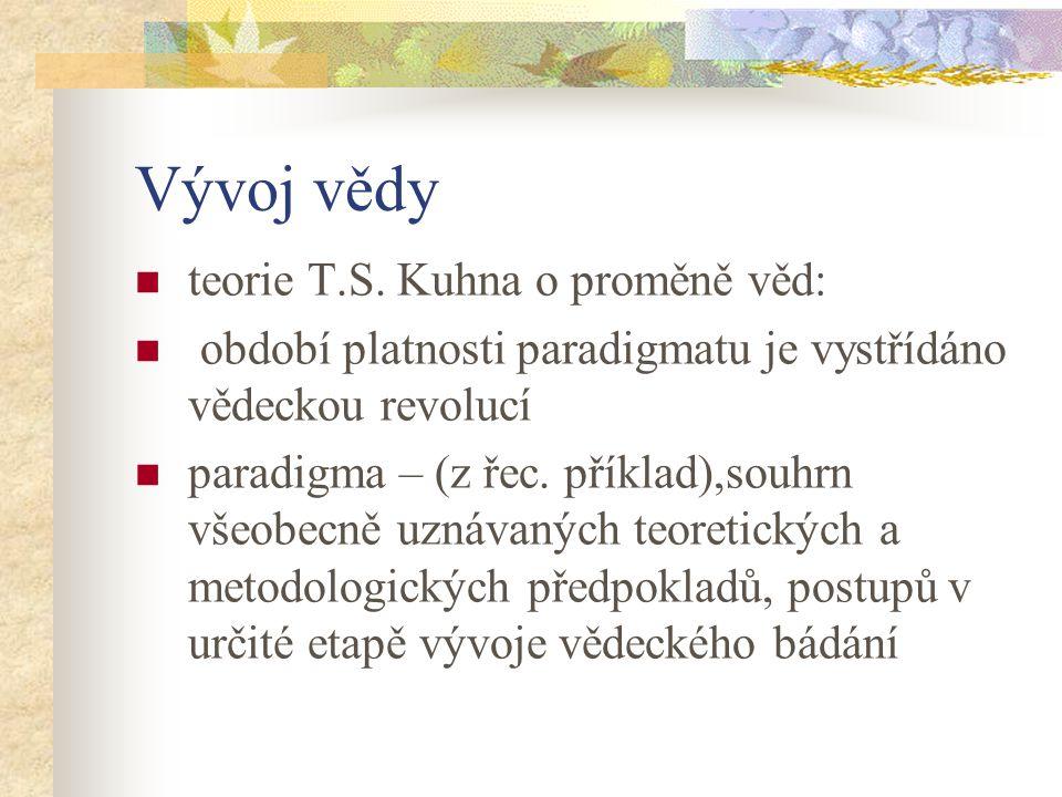 Vývoj vědy teorie T.S. Kuhna o proměně věd: období platnosti paradigmatu je vystřídáno vědeckou revolucí paradigma – (z řec. příklad),souhrn všeobecně