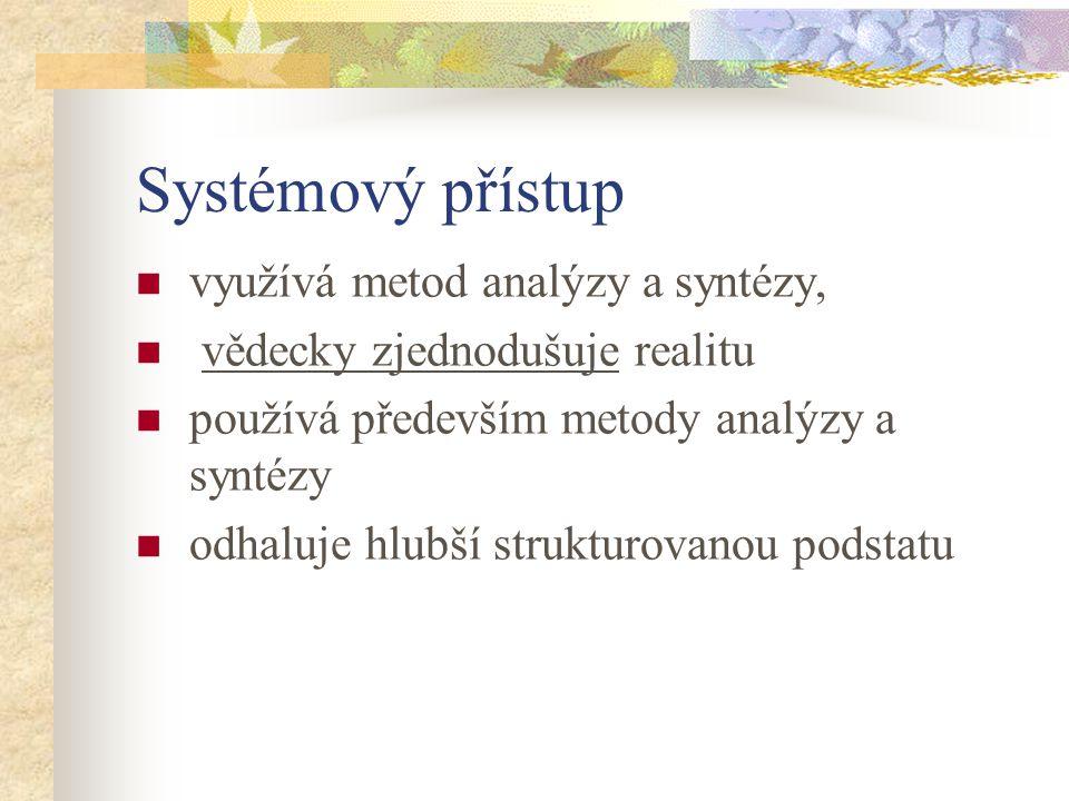 Systémový přístup využívá metod analýzy a syntézy, vědecky zjednodušuje realitu používá především metody analýzy a syntézy odhaluje hlubší strukturova
