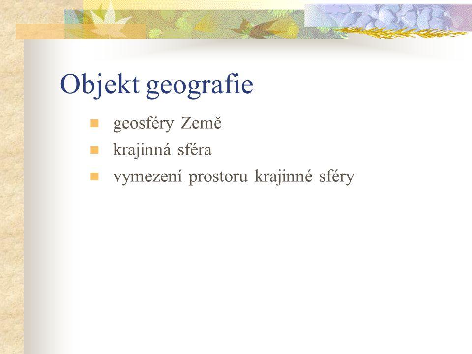 Objekt geografie geosféry Země krajinná sféra vymezení prostoru krajinné sféry