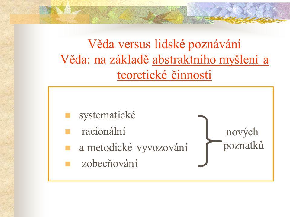 Vědy a jejich dělení Vědy se liší objektem studia, předmětem studia, metodami.
