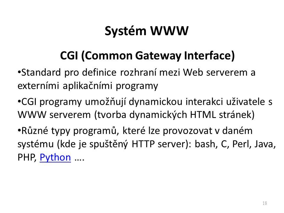 Systém WWW CGI (Common Gateway Interface) Standard pro definice rozhraní mezi Web serverem a externími aplikačními programy CGI programy umožňují dyna