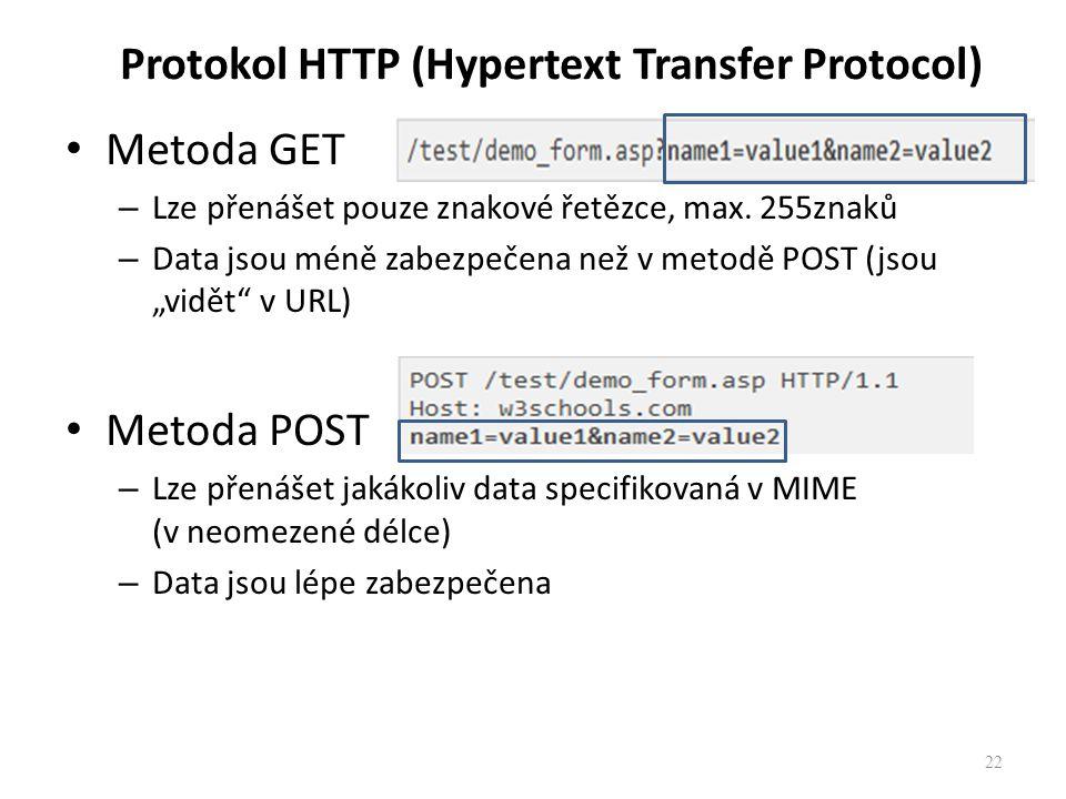 22 Protokol HTTP (Hypertext Transfer Protocol) Metoda GET – Lze přenášet pouze znakové řetězce, max. 255znaků – Data jsou méně zabezpečena než v metod