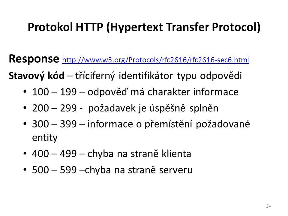 Protokol HTTP (Hypertext Transfer Protocol) Response http://www.w3.org/Protocols/rfc2616/rfc2616-sec6.html http://www.w3.org/Protocols/rfc2616/rfc2616