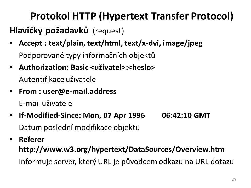 Protokol HTTP (Hypertext Transfer Protocol) Hlavičky požadavků (request) Accept : text/plain, text/html, text/x-dvi, image/jpeg Podporované typy infor