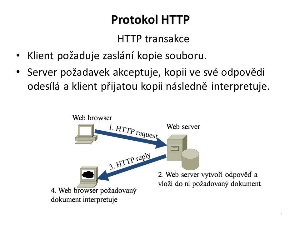 Protokol HTTP HTTP transakce Klient požaduje zaslání kopie souboru. Server požadavek akceptuje, kopii ve své odpovědi odesílá a klient přijatou kopii