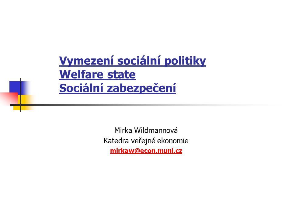 Vymezení sociální politiky Welfare state Sociální zabezpečení Mirka Wildmannová Katedra veřejné ekonomie mirkaw@econ.muni.cz