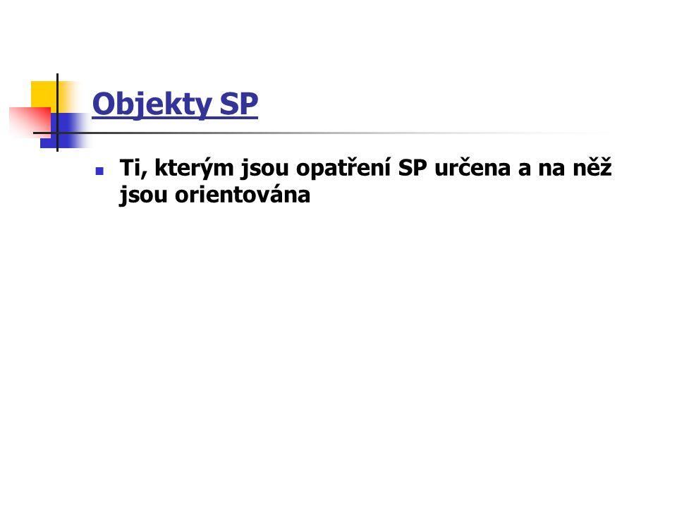 Objekty SP Ti, kterým jsou opatření SP určena a na něž jsou orientována