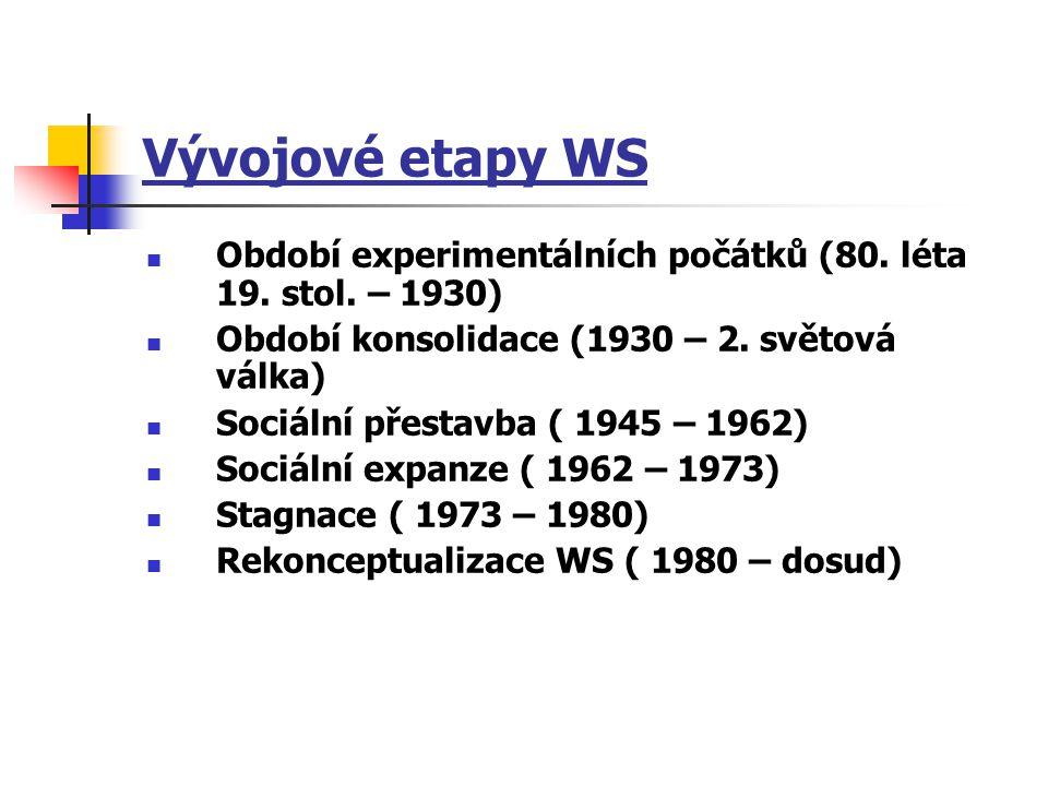 Vývojové etapy WS Období experimentálních počátků (80. léta 19. stol. – 1930) Období konsolidace (1930 – 2. světová válka) Sociální přestavba ( 1945 –