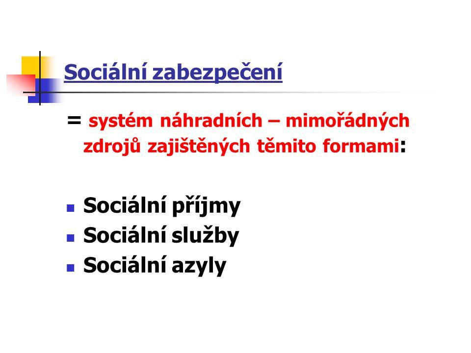 Sociální zabezpečení = systém náhradních – mimořádných zdrojů zajištěných těmito formami : Sociální příjmy Sociální služby Sociální azyly
