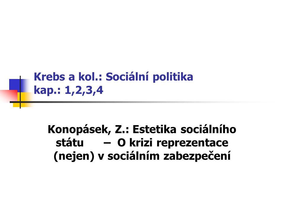 Krebs a kol.: Sociální politika kap.: 1,2,3,4 Konopásek, Z.: Estetika sociálního státu – O krizi reprezentace (nejen) v sociálním zabezpečení