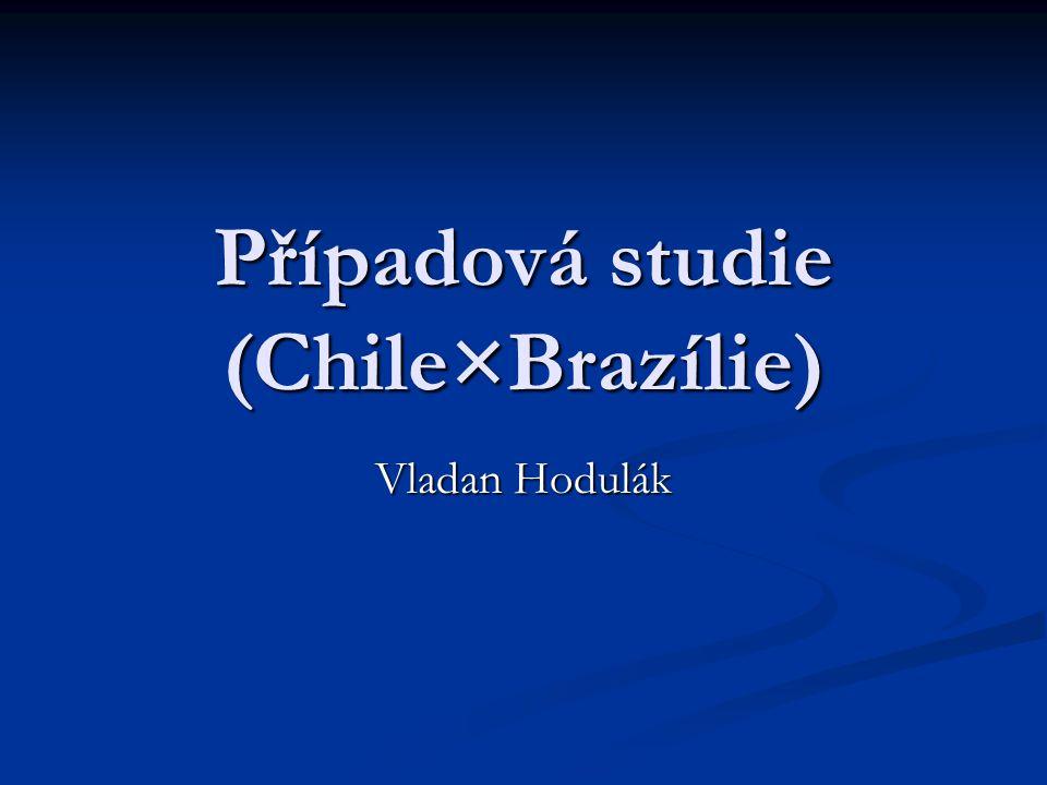 Osnova Případová studie obecně Případová studie obecně Chile Chile Základní vymezení Základní vymezení Vnitřní podmínky rozvoje Vnitřní podmínky rozvoje Vnější podmínky rozvoje Vnější podmínky rozvoje Hospodářský rozvoj Hospodářský rozvoj Dosažené výsledky Dosažené výsledky Brazílie Brazílie Základní vymezení Základní vymezení Vnitřní podmínky rozvoje Vnitřní podmínky rozvoje Vnější podmínky rozvoje Vnější podmínky rozvoje Hospodářský rozvoj Hospodářský rozvoj Dosažené výsledky Dosažené výsledky Srovnání Srovnání