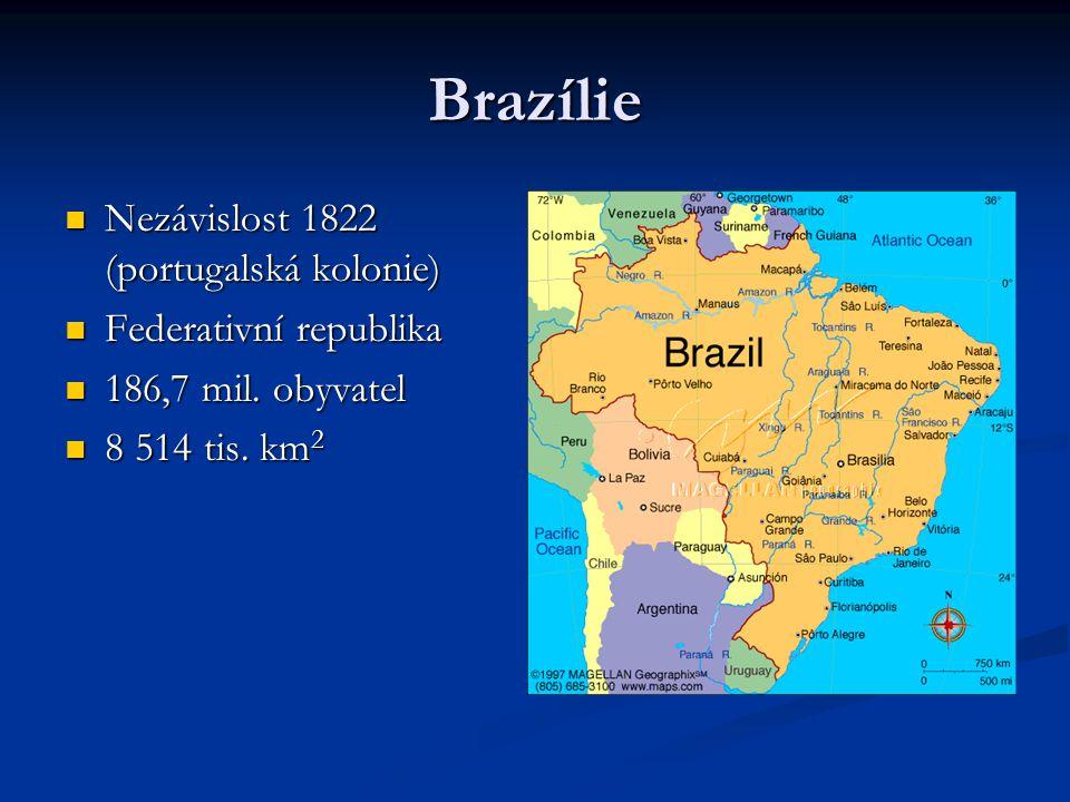 Brazílie Nezávislost 1822 (portugalská kolonie) Nezávislost 1822 (portugalská kolonie) Federativní republika Federativní republika 186,7 mil. obyvatel