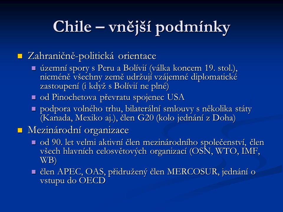 Chile – vnější podmínky Zahraničně-politická orientace Zahraničně-politická orientace územní spory s Peru a Bolívií (válka koncem 19. stol.), nicméně