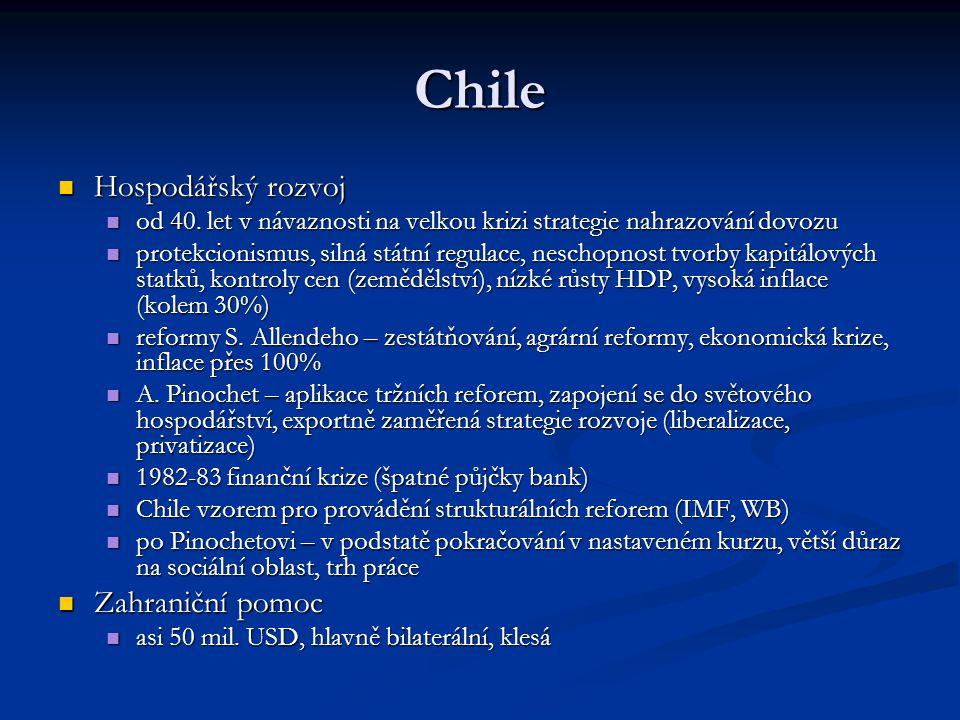 Chile Hospodářský rozvoj Hospodářský rozvoj od 40. let v návaznosti na velkou krizi strategie nahrazování dovozu od 40. let v návaznosti na velkou kri