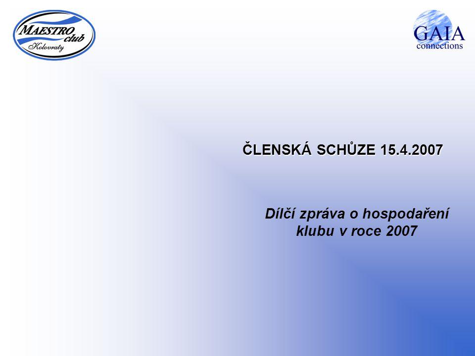 ČLENSKÁ SCHŮZE 15.4.2007 Dílčí zpráva o hospodaření klubu v roce 2007