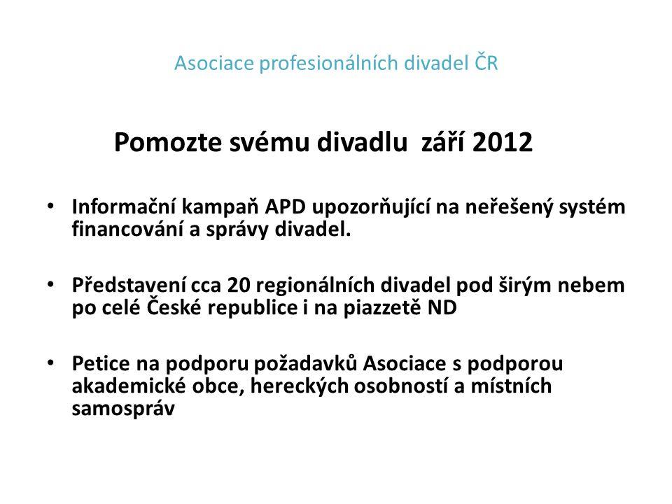 Asociace profesionálních divadel ČR Pomozte svému divadlu září 2012 Informační kampaň APD upozorňující na neřešený systém financování a správy divadel.