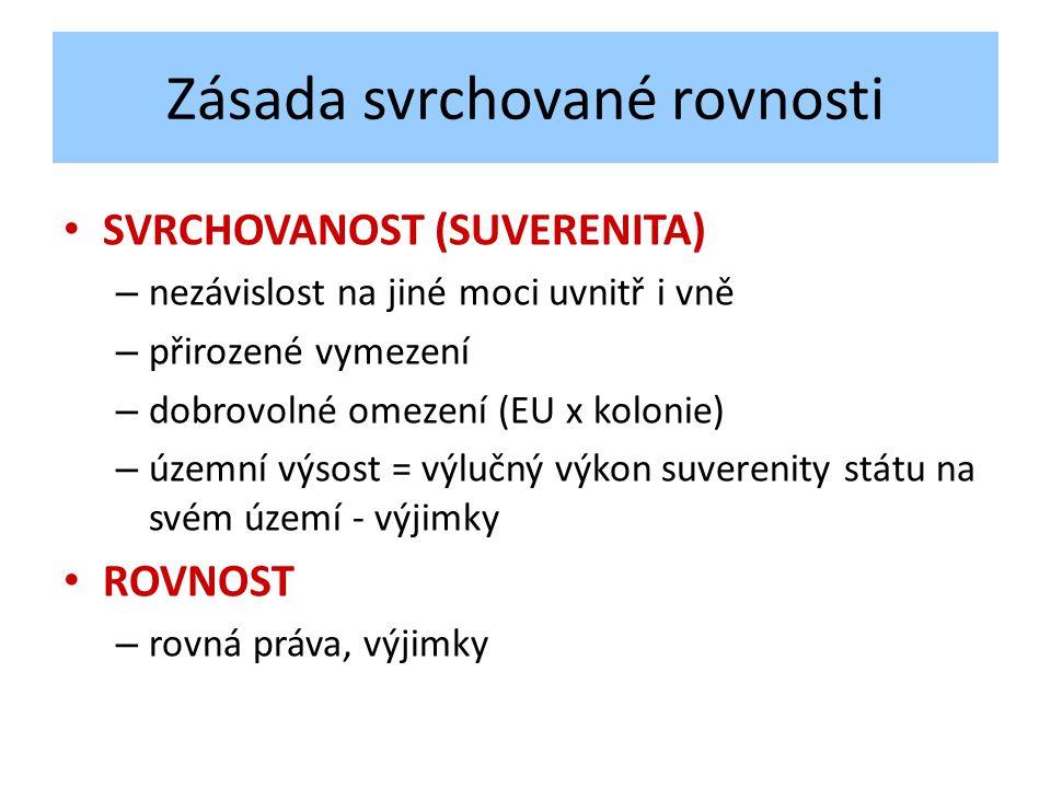 Zásada svrchované rovnosti SVRCHOVANOST (SUVERENITA) – nezávislost na jiné moci uvnitř i vně – přirozené vymezení – dobrovolné omezení (EU x kolonie) – územní výsost = výlučný výkon suverenity státu na svém území - výjimky ROVNOST – rovná práva, výjimky